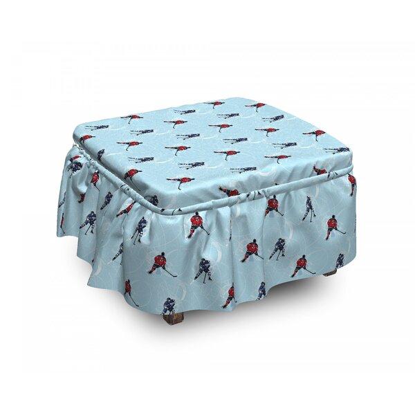 Sport Ice Hockey Winter 2 Piece Box Cushion Ottoman Slipcover Set By East Urban Home