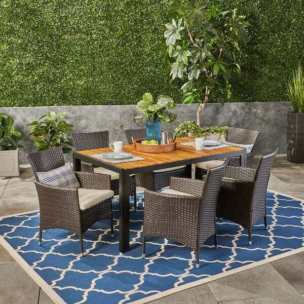 Montero Outdoor 7 Dining Set With Cushions By Gracie Oaks