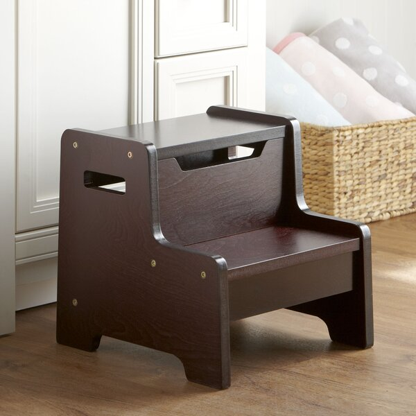 2-Step Wood Quick Boost Monogrammed Step Stool with 100 lb. Load Capacity by Birch Lane Kids™