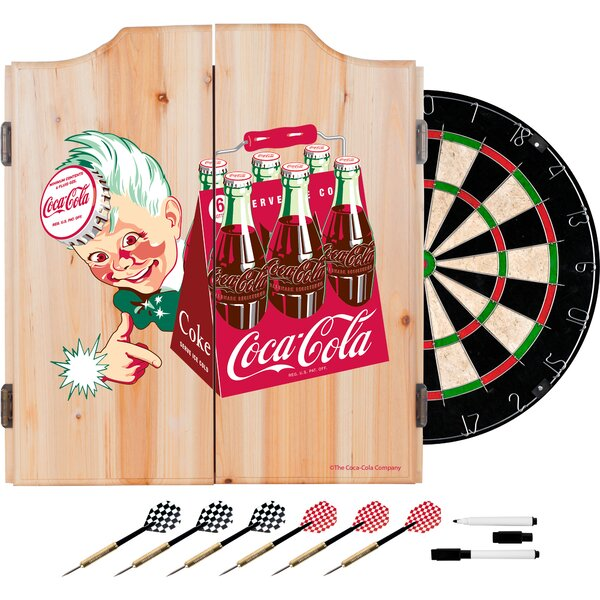 Coca Cola Dartboard and Cabinet Set by Trademark Global