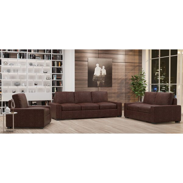 Howard 3 Piece Leather Living Room Set by Westland and Birch