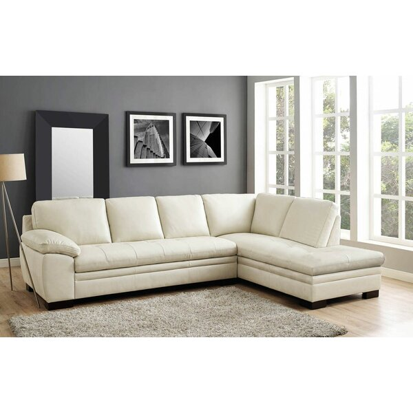 Woodland Leather Sectional with Ottoman by Red Barrel Studio