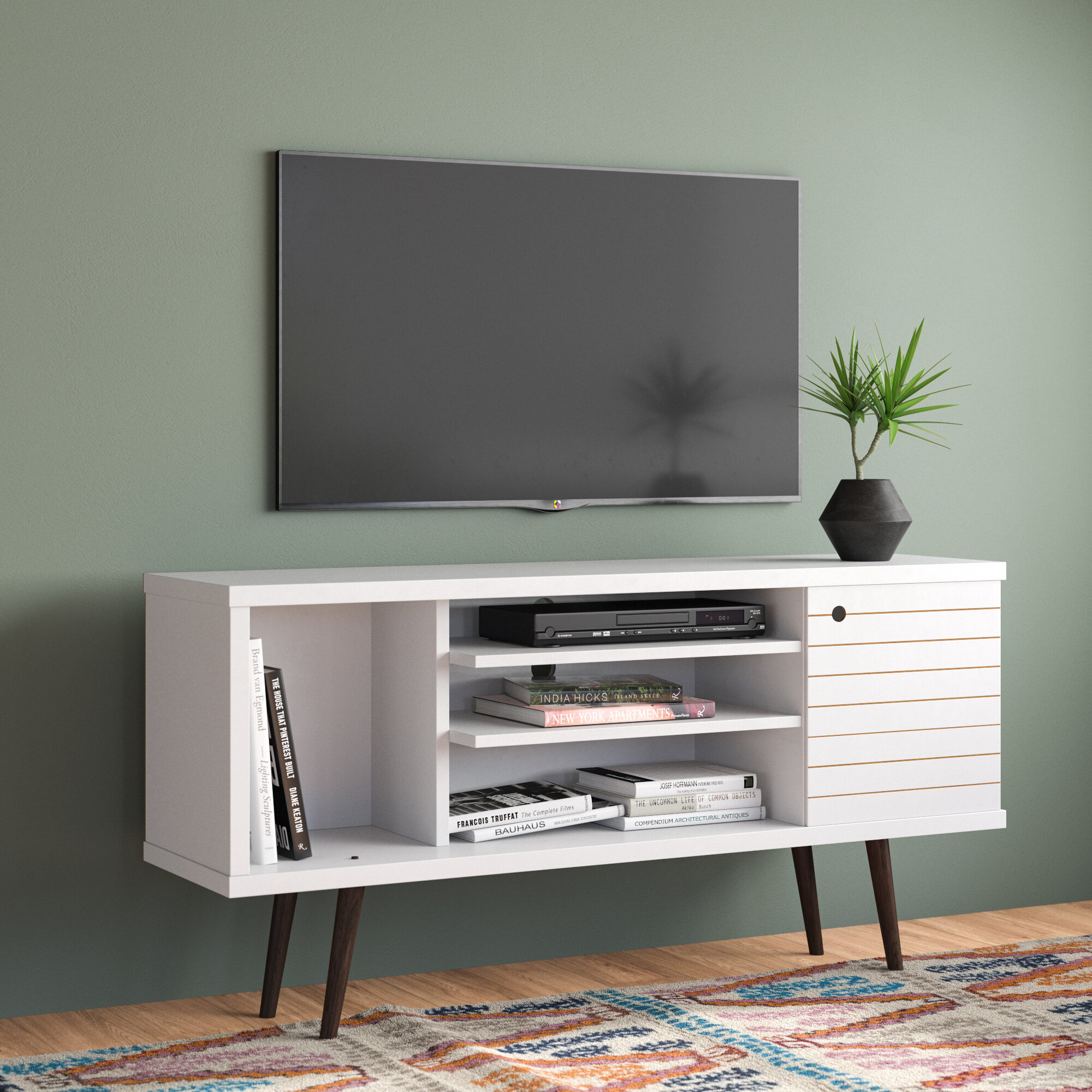 Modern Entertainment Flat Screen TV Stand for TVs Up to 65 Inch w// Open Shelves
