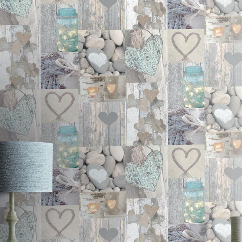 Rustic Heart 1005m L X 53cm W Roll Wallpaper