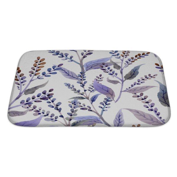 Rustemi Watercolor Pattern with Floral Elements Bath Rug