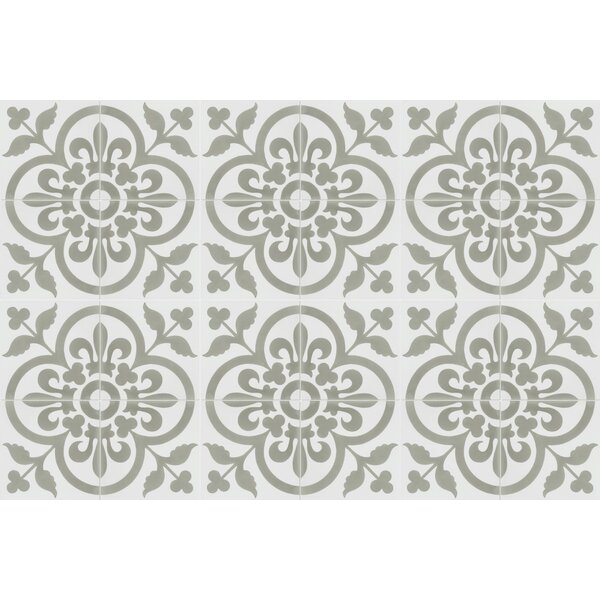 Raylen A 8 x 8 Cement Field Tile in White/Gray by Villa Lagoon Tile
