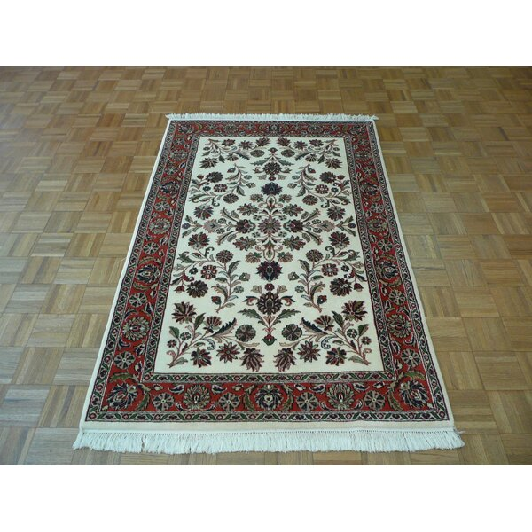 One-of-a-Kind Padro Sarouk Hand-Knotted Wool Ivory Area Rug by Bloomsbury Market