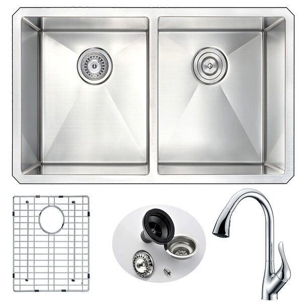 Vanguard 32 L x 18 W Double Bowl Undermount Kitchen Sink with Faucet by ANZZI