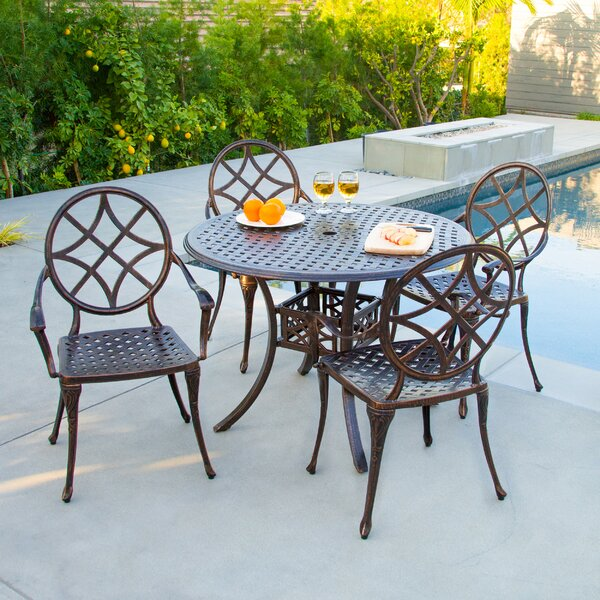 Cosette 5 Piece Cast Aluminum Copper Outdoor Dining Set by Home Loft Concepts