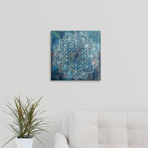 Mandala in Blue II by Danhui Nai Painting Print on Wrapped Canvas by Great Big Canvas