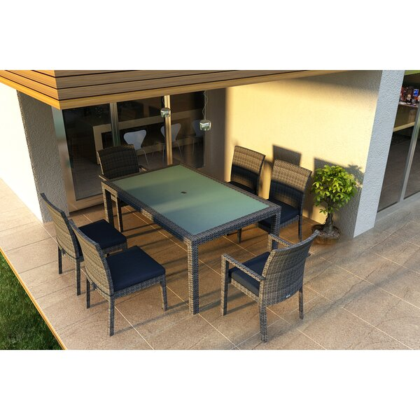 Hobbs 7 Piece Sunbrella Dining Set with Cushions by Rosecliff Heights