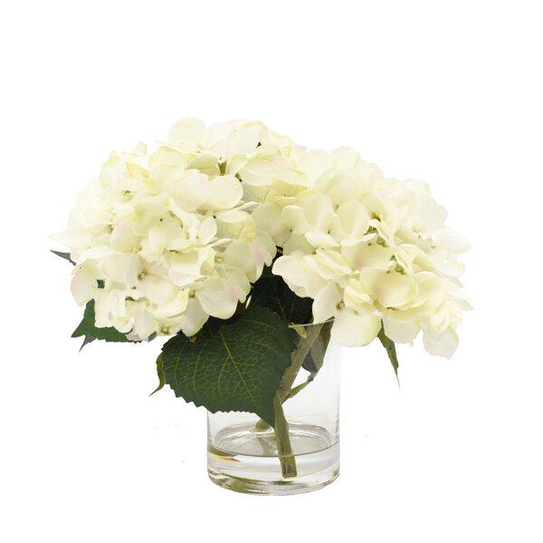 White Hydrangea in Glass Vase by Beachcrest Home