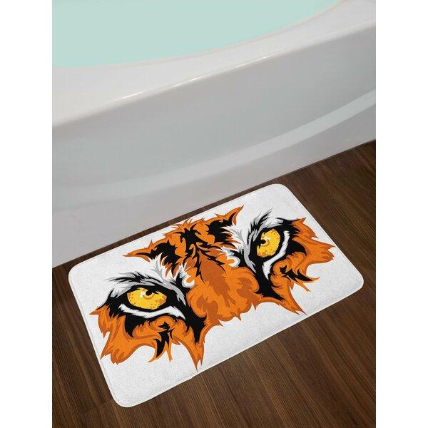 Tiger Orange Yellow Black Eye Bath Rug by East Urban Home