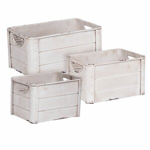 Galvanized Metal 3 Piece Crate Set