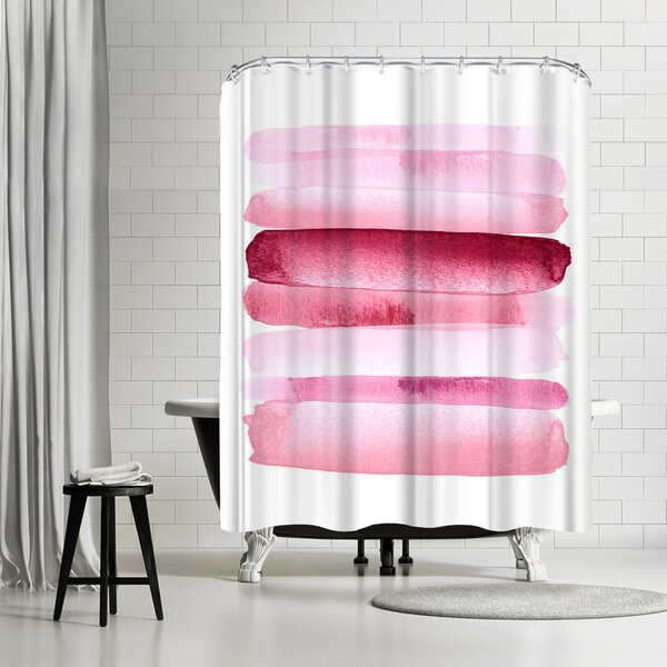 Amy Brinkman Move Forward Modern Pink Shower Curtain by East Urban Home