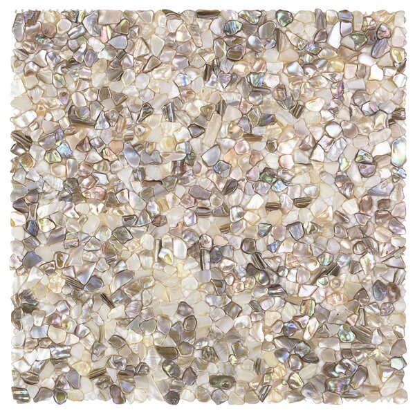 Noburu Random Sized Glass Pearl Shell Mosaic Tile in Silver by Splashback Tile