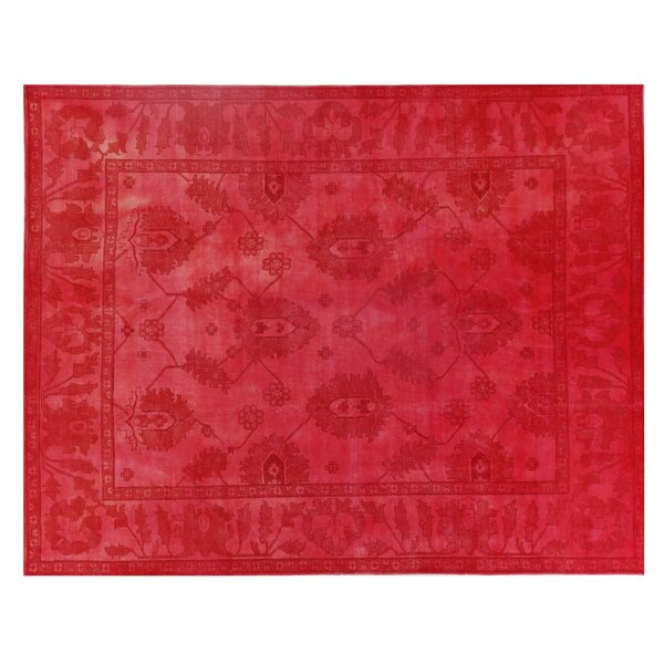 Overdyed Hand-Knotted Wool Red Area Rug