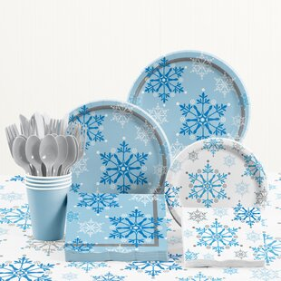 Snowflake Swirls Paper and Plastic Tableware Kit & Snowflake Paper Plates | Wayfair