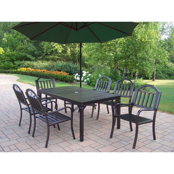 Lisabeth 8 Piece Dining Set with Umbrella by Red Barrel Studio