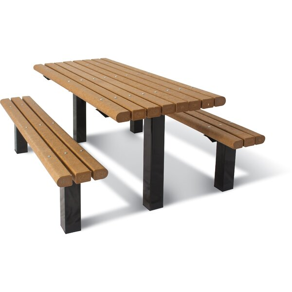UltraSite ADA Multi-Pedestal Recycled Plastic In-ground Table by Ultra Play