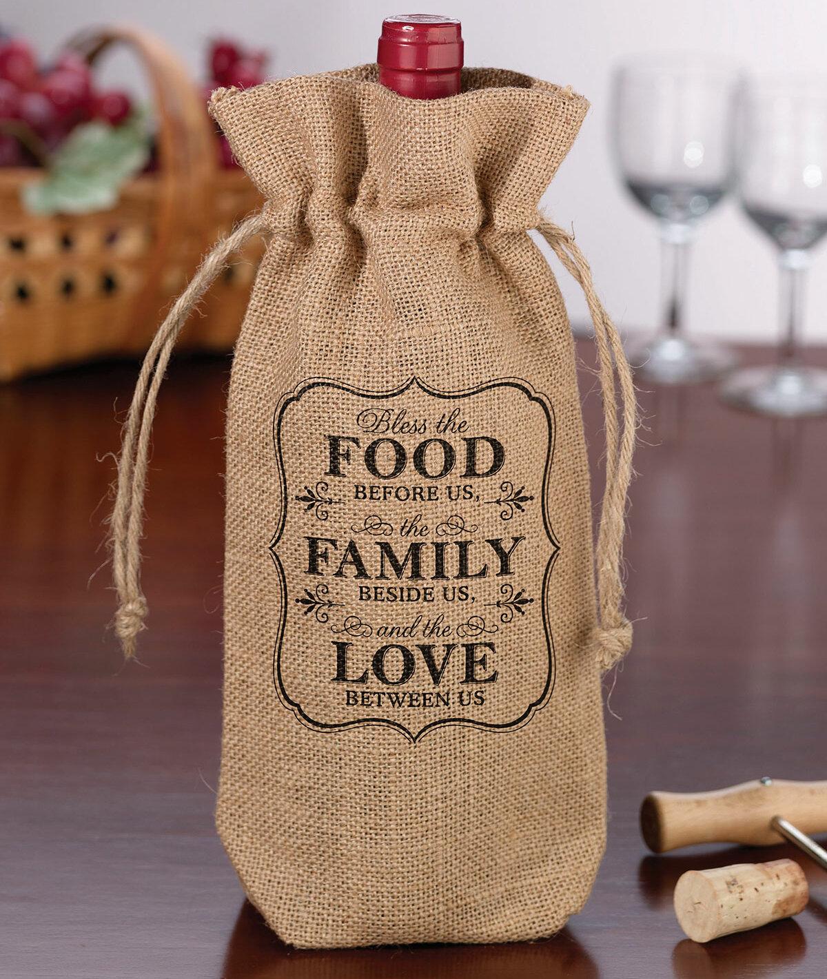Rustic Burlap Wine Bag