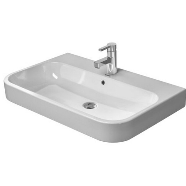 Happy D. Ceramic 26 Wall Mount Bathroom Sink with Overflow by Duravit