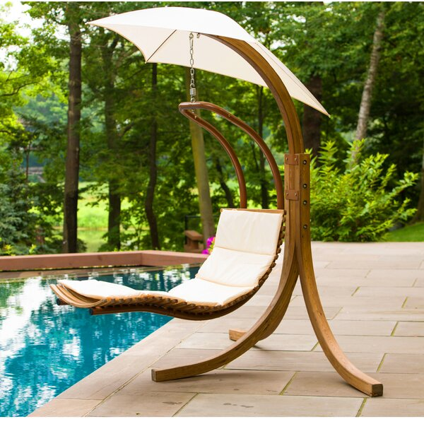 Polyester Hanging Chaise Lounger with Stand by Leisure Season Leisure Season