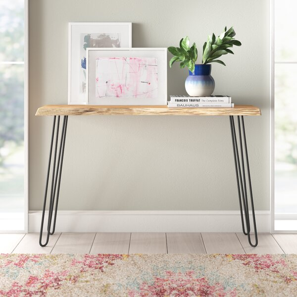 Review Bexton Live Edge Hairpin Console Table