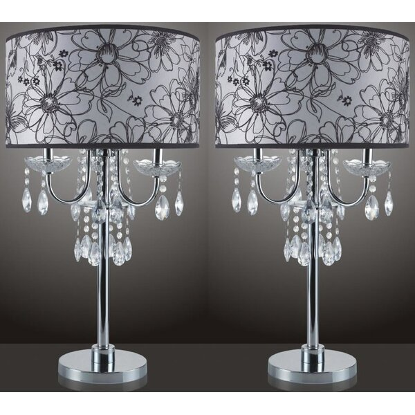 Beachborough Floral Design 29.5 Table Lamp (Set of 2) by Rosdorf Park