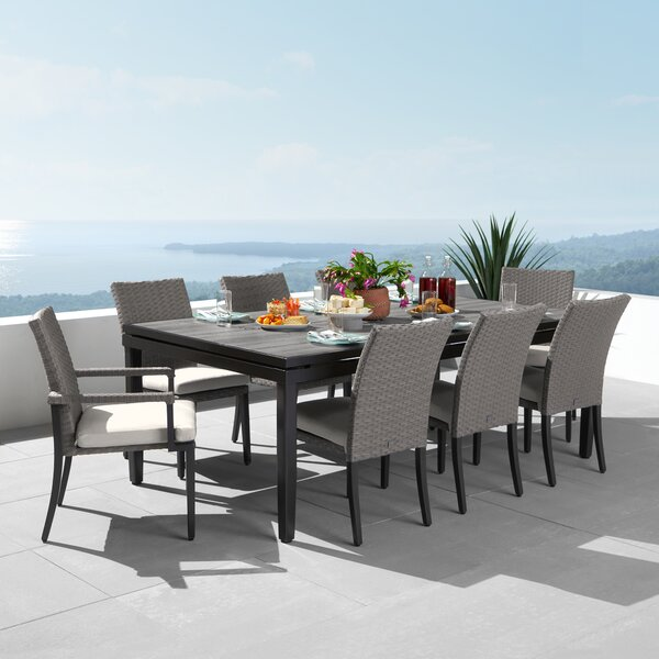 Tukwila 9 Piece Dining Set with Sunbrella Cushions by Foundry Select