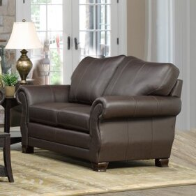 High Quality Jettie Italian Leather Loveseat by Fleur De Lis Living by Fleur De Lis Living