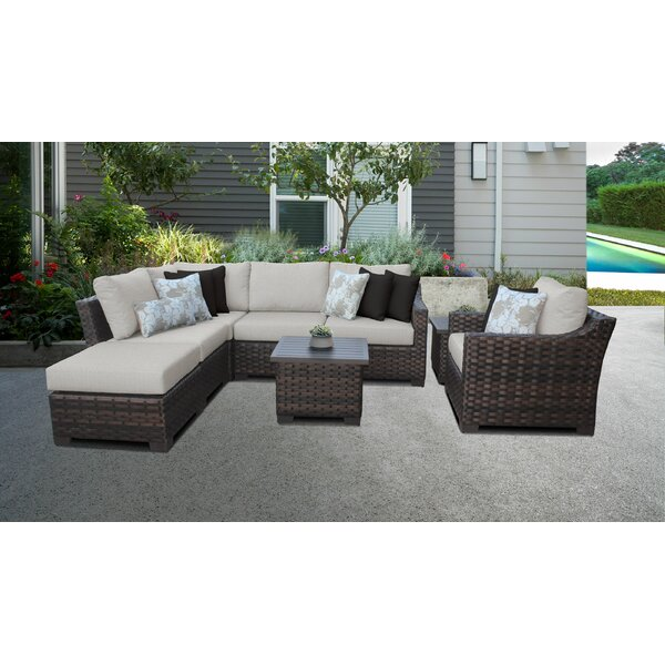 kathy ireland Homes & Gardens River Brook Brook 8 Piece Outdoor Sectional Seating Group with Cushion by TK Classics