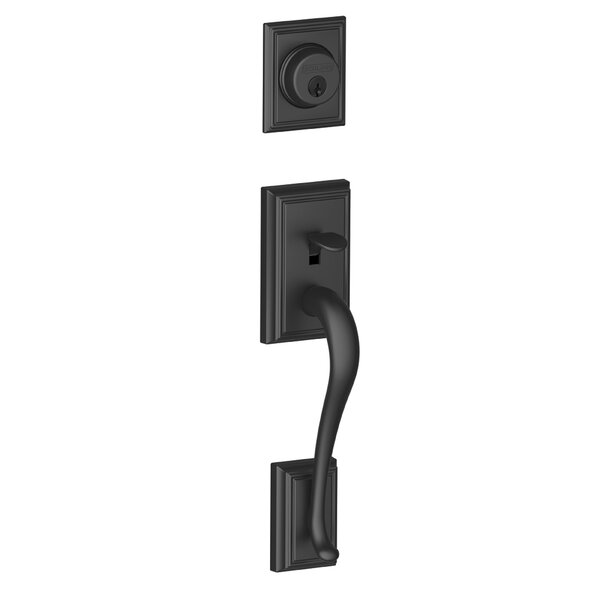 Addison Exterior Handleset Grip with Exterior Single Cylinder Deadbolt by Schlage