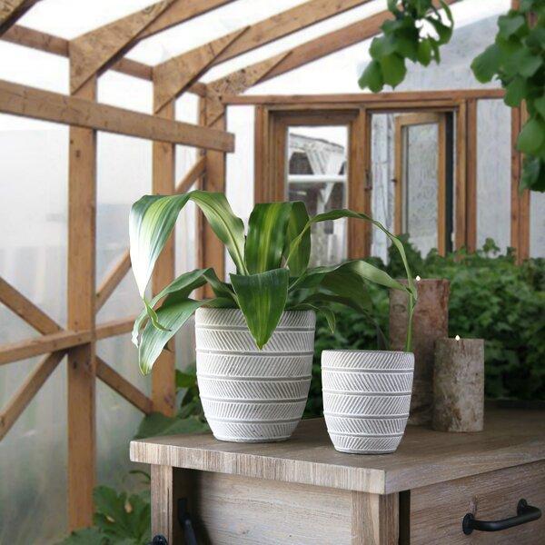 Digennaro Round Alternate Parrallel Lines Design Body 2 Piece Cement Pot Planter Set by Bungalow Rose