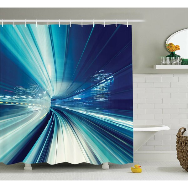 Abrielle Asian Tokyo at Night Shower Curtain by Ebern Designs