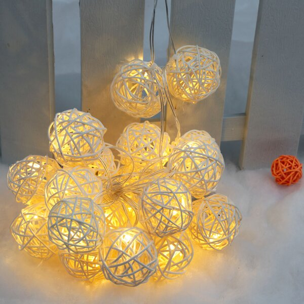 Rattan Battery Operated 10 LED String Lights by The Holiday Aisle