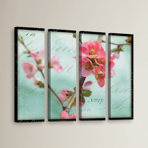 Quince Blossom 4 Piece Photographic Print on Wrapped Canvas Set by Red Barrel Studio