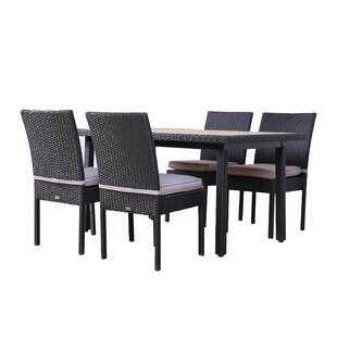 Milone 5 Piece Outdoor Dining Set with Cushions By Brayden Studio