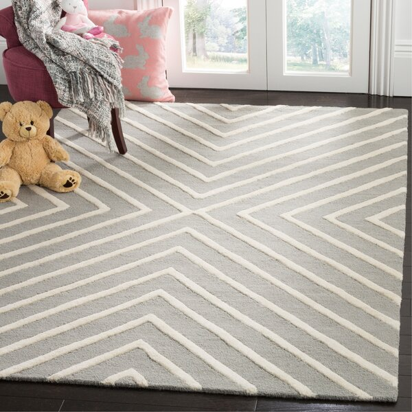 Claro X Pattern Handand-Tufted Wool Gray Area Rug by Harriet Bee