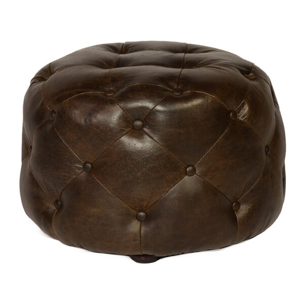 Canard Leather Tufted Cocktail Ottoman by Loon Peak