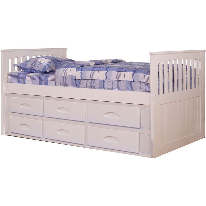 Harriet Bee Eichler Twin-Size Bed Frame with Built-in Storage and ...