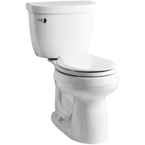 Cimarron Comfort Height Two-Piece Round-Front 1.28 GPF Toilet with Aquapiston Flush Technology by Kohler