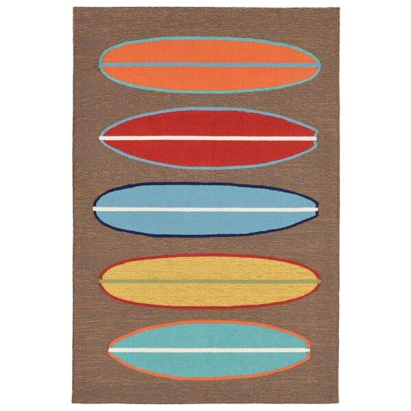 Helen Surfboards Hand-Tufted Brown/Blue Indoor/Outdoor Area Rug by Highland Dunes