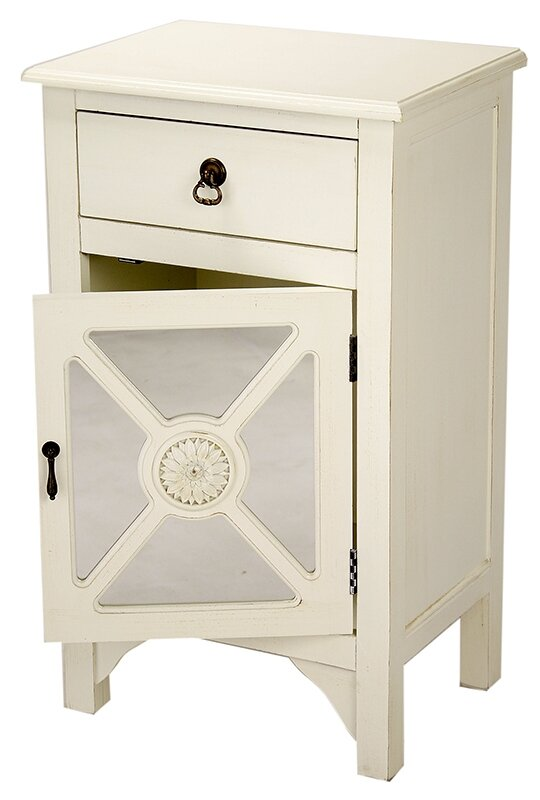 Wooden Accent Cabinet With Mirror Insert