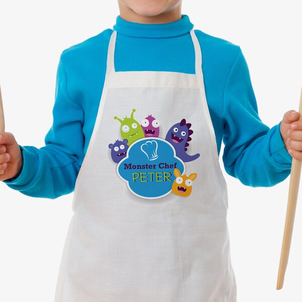 Little Monster Chef Personalized Kid Apron by Monogramonline Inc.