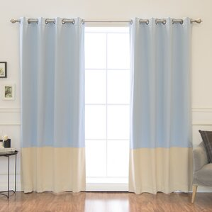 colorblock insulated striped blackout thermal grommet curtain panels set of 2