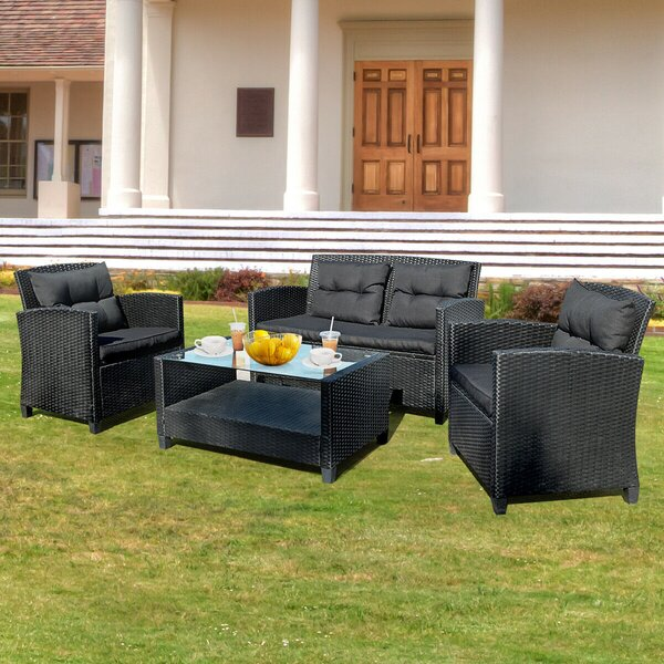 Annaliesse 4 Piece Rattan Sofa Seating Group with Cushions