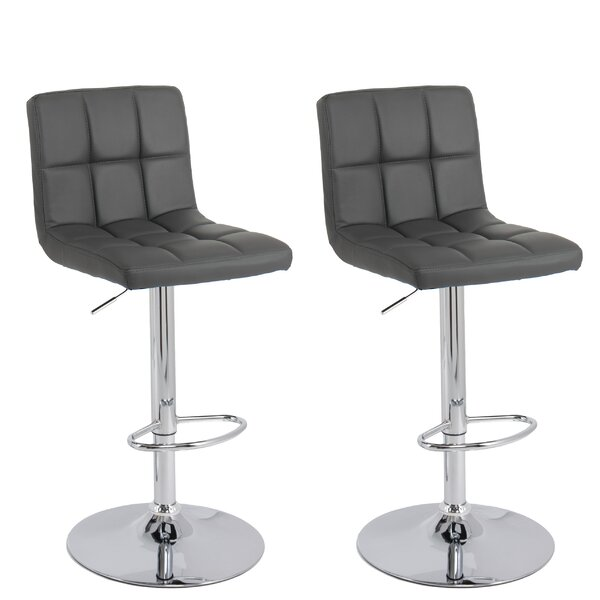 Elser Adjustable Height Swivel Bar Stool (Set of 2) by Orren Ellis
