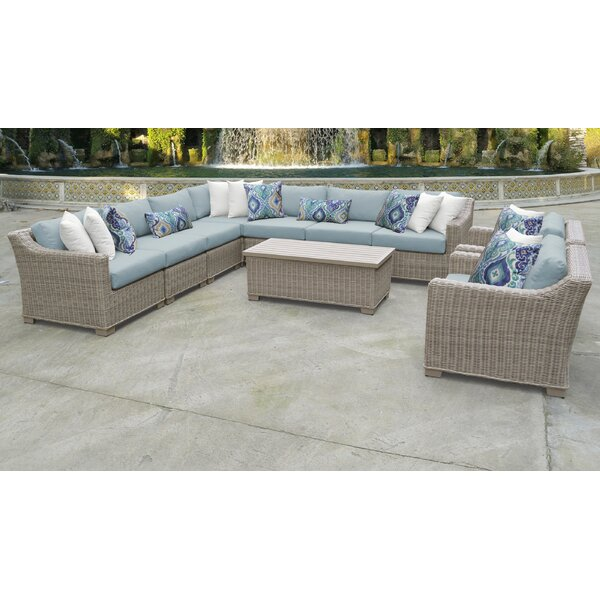 Claire 10 Piece Sectional Seating Group with Cushions by Rosecliff Heights
