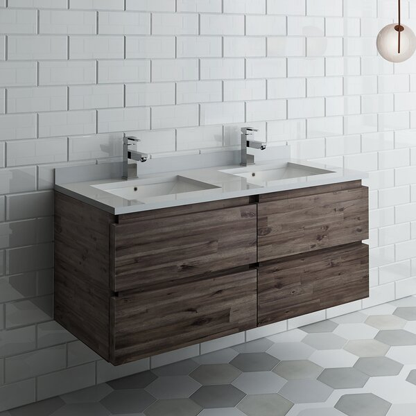 Formosa 48 Wall-Mounted Double Bathroom Vanity Set